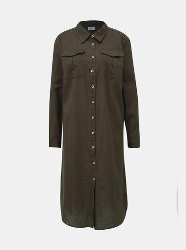 Khaki košilové šaty Jacqueline de Yong Tulip