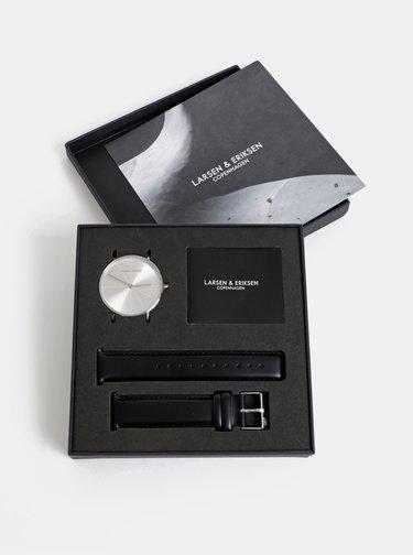 Hodinky s černým koženým páskem Larsen&Eriksen