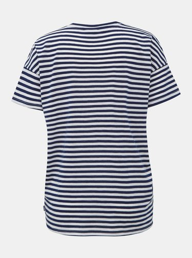 Bílo-modré pruhované basic tričko Noisy May Command