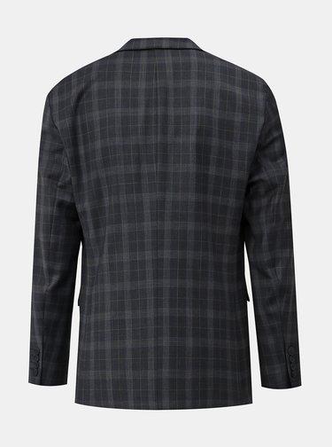 Šedé kockované slim fit sako s prímesov vlny Selected Homme Myloport