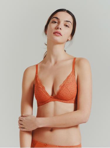 Oranžová krajková podprsenka ICÔNE Morphee