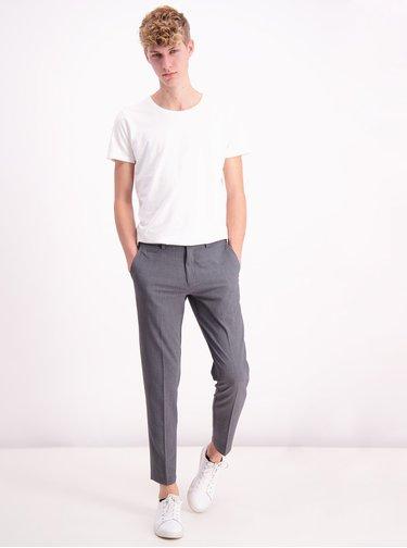 Šedé zkrácené slim fit kalhoty Lindbergh