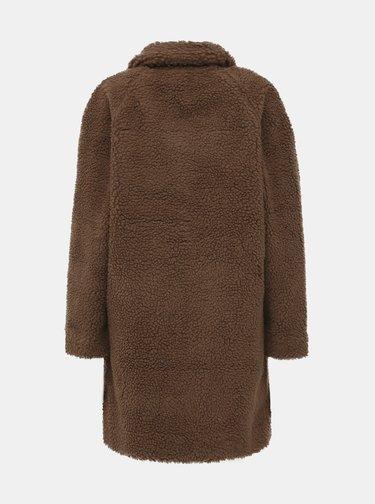 Hnedý kabát z umelej kožušiny ONLY Aurelia