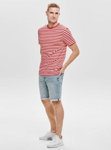 Bílo-červené pruhované basic tričko ONLY & SONS Jamie
