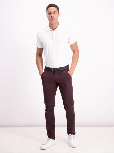 Vínové vzorované chino kalhoty Lindbergh