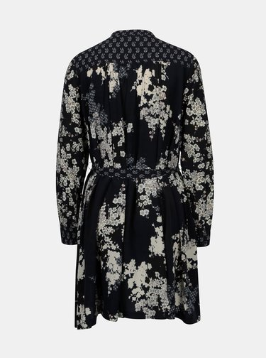 Rochie bleumarin cu print floral si dantela French Connection