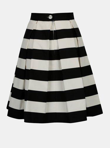 Černo-krémová pruhovaná kolová sukně MONLEMON Navy Black