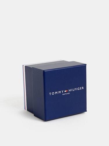 Pánske hodinky s čiernym koženým remienkom Tommy Hilfiger