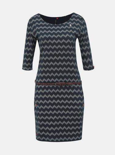 Tmavomodré vzorované šaty Ragwear Tanya Zig Zag