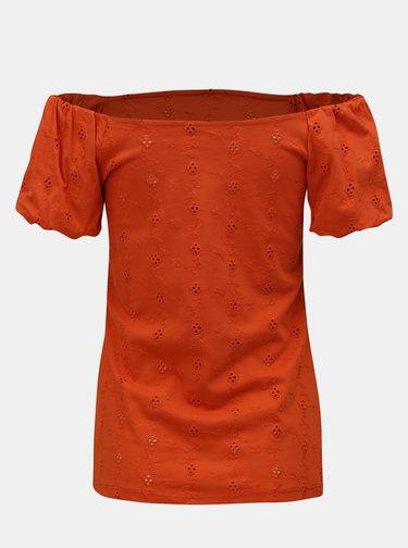 Tricou oranj cu decolteu pe umeri Dorothy Perkins