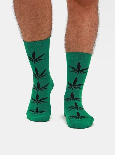 Sada troch párov pánskych vzorovaných ponožiek v zelenej a čiernej farbe Meatfly