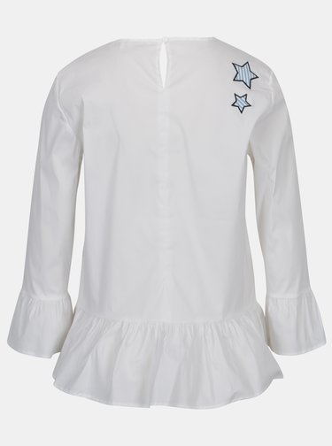 Bluza alba cu volane si aplicatii - Rich & Royal