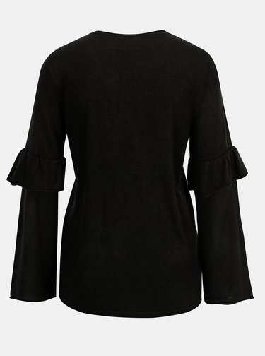 Čierny sveter s volánmi na rukávoch Jacqueline de Yong Stardust