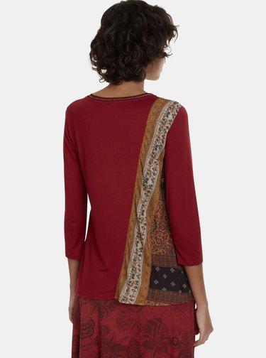 Červené tričko s potiskem Desigual Inge