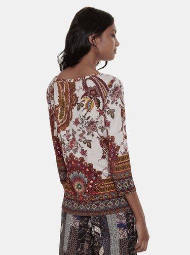 Béžové kvetované tričko Desigual Xenia