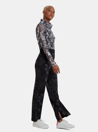 Čierne kvetované metalické nohavice Desigual Lua