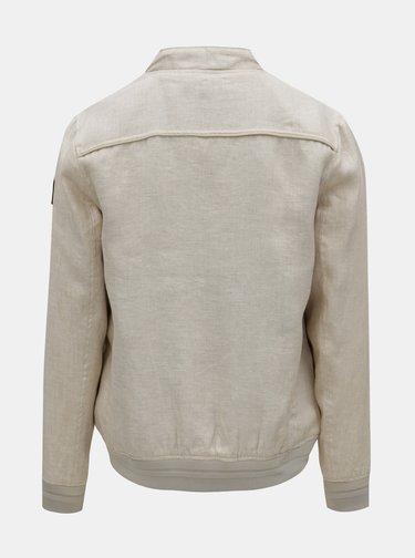 Béžový pánsky melírovaný ľanový bomber Garcia Jeans