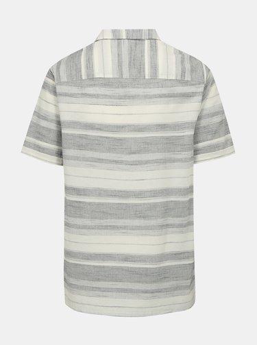 Camasa alba cu dungi gri din bumbac - Burton Menswear London
