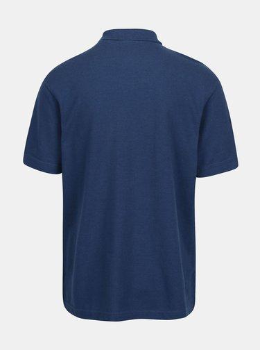 Tricou polo albastru cu logo brodat - Raging Bull