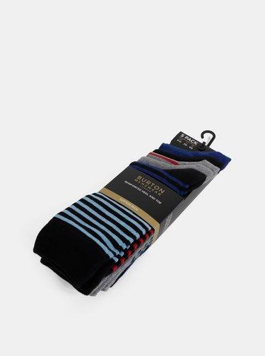 Sada piatich párov pruhovaných ponožiek v šedej a modrej farbe Burton Menswear London