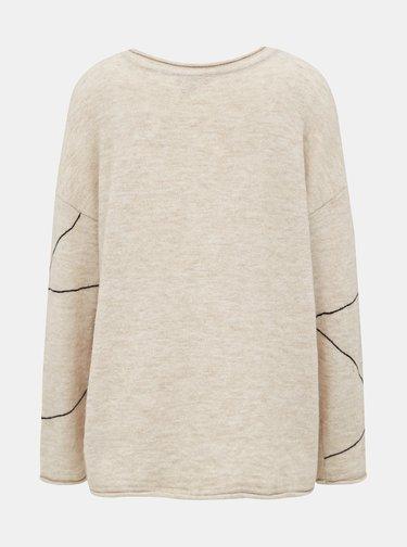 Béžový vzorovaný svetr s příměsí vlny Selected Femme Lin