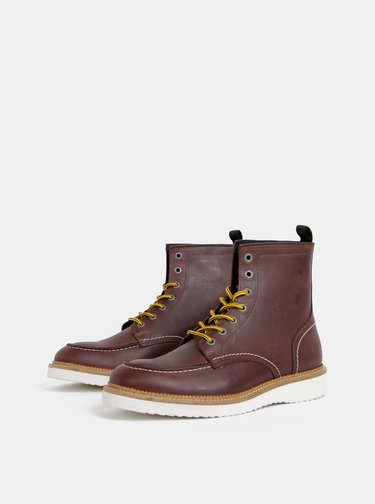 Tmavohnedé pánske kotníkové topánky Selected Homme Teo