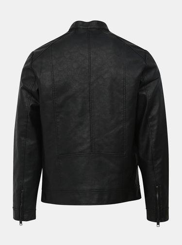 Čierna koženková bunda Jack & Jones Park