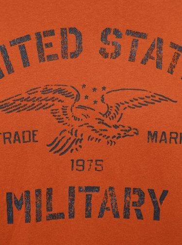 Oranžové tričko s potlačou Jack & Jones Greg