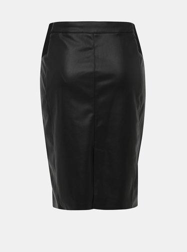 Čierna koženková púzdrová sukňa VERO MODA Buttersia