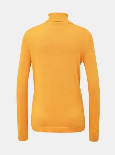 Oranžový basic sveter s rolákom VILA Bolonia