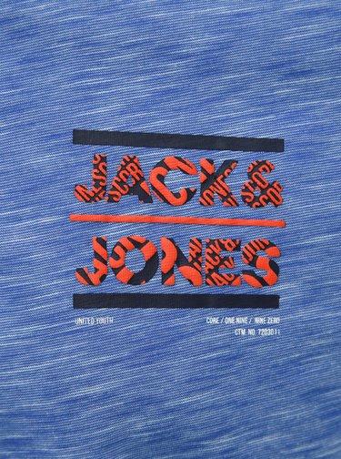 Modrá žíhaná slim fit polokošeľa Jack & Jones CORE Foni