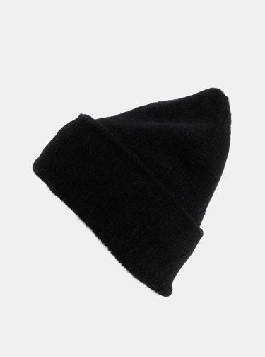 Černá vlněná čepice Pieces Josefine