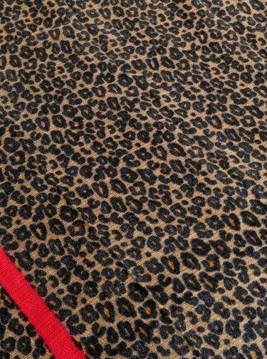 Čierno-hnedý šál s leopardím vzorom ONLY Didde