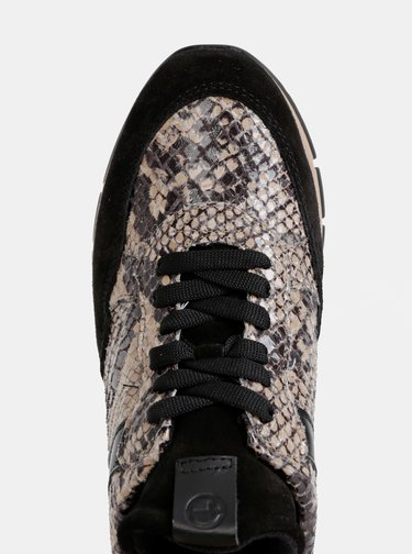 Béžovo-čierne semišové tenisky s hadím vzorom Tamaris