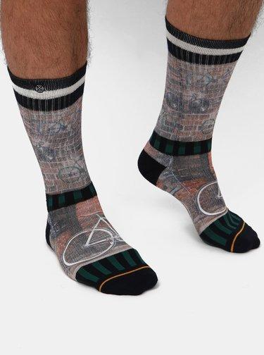 Hnědé pánské vzorované ponožky XPOOOS