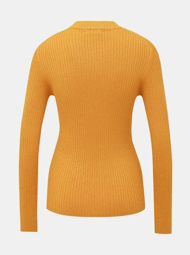 Horčicový dámsky rebrovaný sveter Alcott