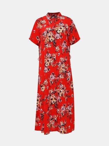 Červené květované košilové midišaty Jacqueline de Yong Win