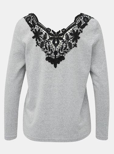 Světle šedý svetr s krajkou Jacqueline de Yong Kalli