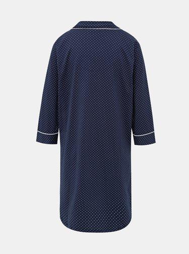 Tmavomodrá dámska bodkovaná nočná košeľa Lauren Ralph Lauren