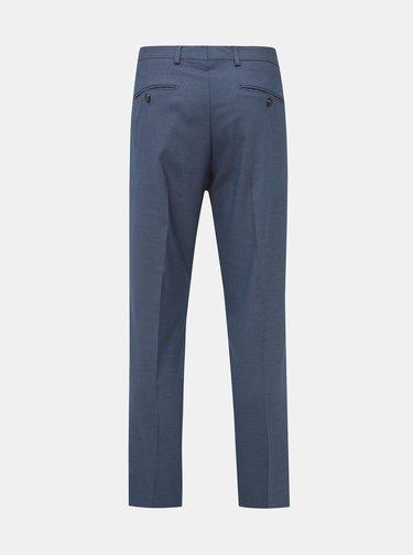 Modré oblekové vzorované slim fit kalhoty Selected Homme Logan