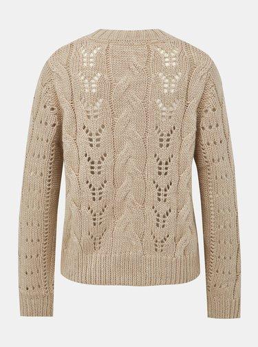 Béžový dámsky sveter s prímesou vlny Pepe Jeans Candela