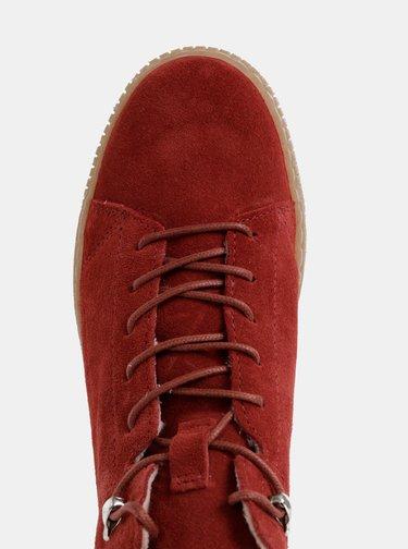 Červené semišové zimné kotníkové tenisky Tamaris