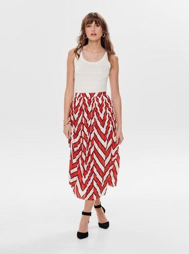 Bielo-červená vzorovaná plisovaná midi sukňa Jacqueline de Yong Harper