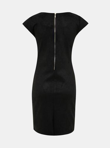 Čierne púzdrové šaty v semišovej úprave Haily´s Serany