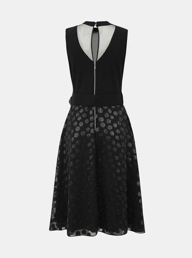 Čierne midi šaty s bodkovanou sukňou Dorothy Perkins