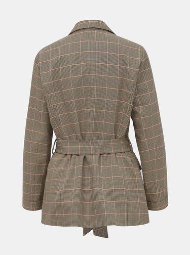 Hnedé kockované sako Miss Selfridge