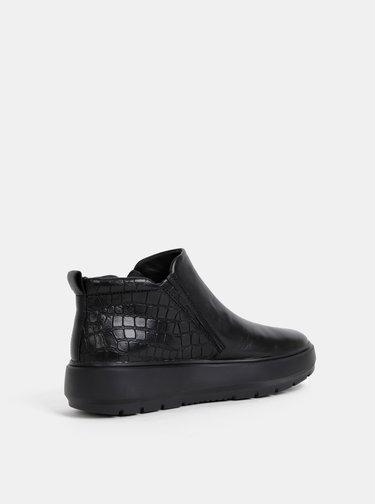 Čierne dámske kožené kotníkové topánky na platforme s hadím vzorom Geox Kaula