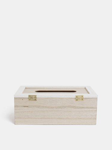 Světle hnědá dřěvěná krabička na kapesníky Dakls