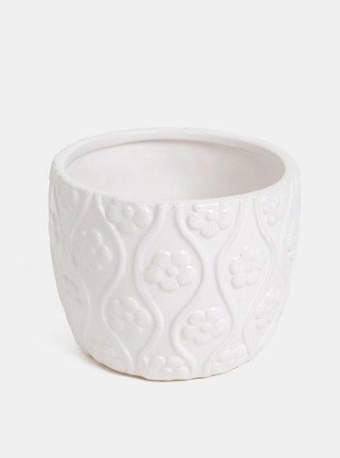 Bílý vzorovaný květináč Dakls