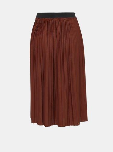 Hnědá plisovaná midi sukně Jacqueline de Yong Sophia